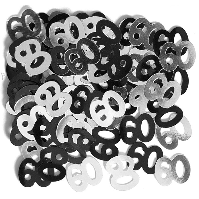 Deko konfetti 60 geburtstag in silber schwarz 1 cm 1 geburtstag deko
