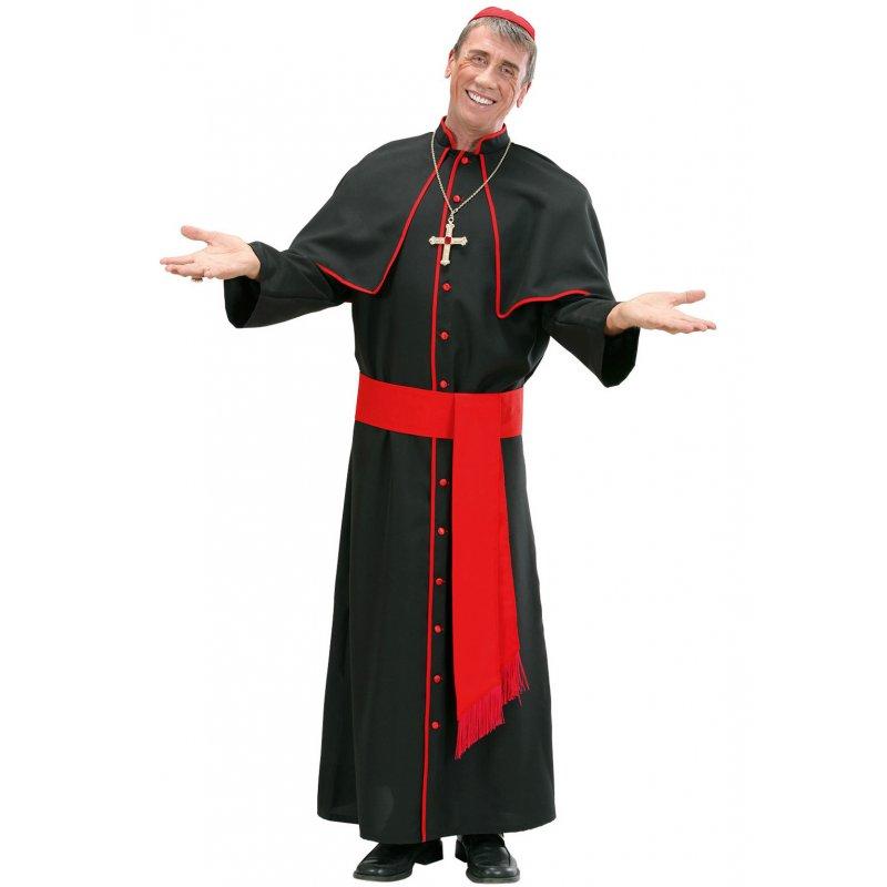 Kardinal Bischof Kostüm mit Robe, Gürtel, Kappe und Kreuzkette