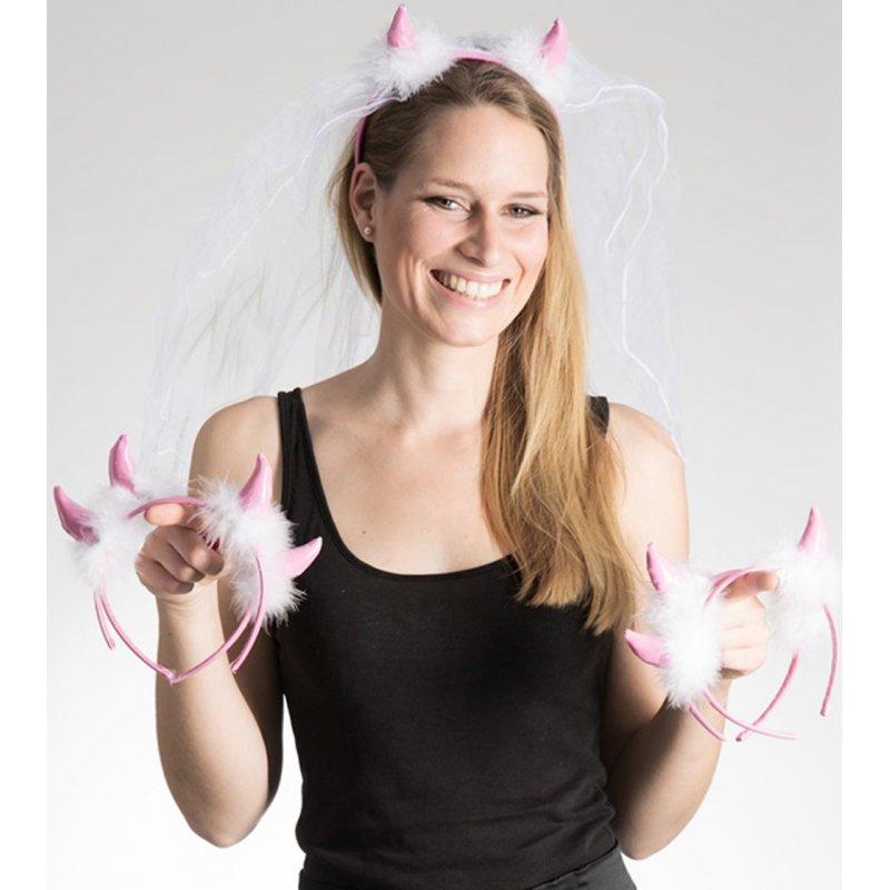Set: Pinke Teufelshörner mit Brautschleier und 4 Teufelshörner